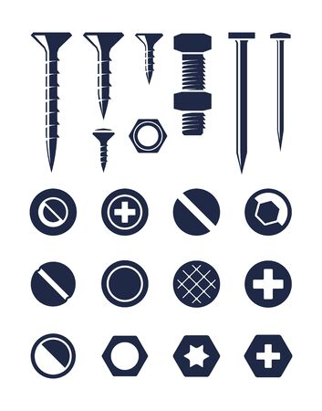 Screw silhouette bolt nail set. Fixing screw self tapping bolt with nut top side view construction carpentry nails various types caps hexagon star diagonal round. Vector silhouette style. 벡터 (일러스트)