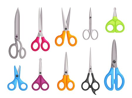 Scissors set. Universal hairdressers blue kitchen for cutting stationery long short orange surgical articulated sewing edges manicure green. Color vector flat.