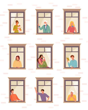 Stay home people self isolation . People life in quarantine open windows guy listens music reads book greets woman child girl drinks coffee speaks phone, elderly people look outside. Clipart vector.