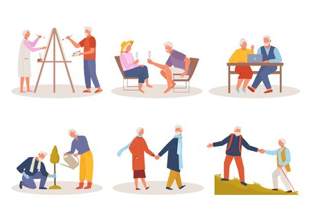 Active life old people. Elderly man woman draw, relax at resort in glasses, sit at laptop, plant tree together actively walk mountainous terrain. Cartoon vector style.