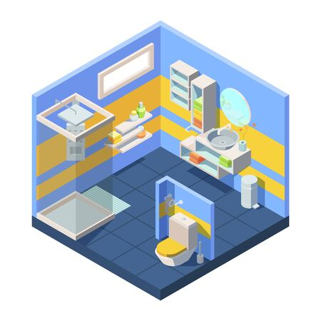Bathroom isometric illustration. Compact bathroom concept closed shower toilet behind partition, corner with mirror combined washstand shelves storing towels shampoo soap. Isometric cartoon vector.