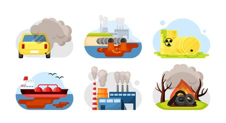 Environmental pollution set. Car exhaust industrial wastewater radioactive toxic waste spilled oil factory combustion options burning plastic, trash tires. Cartoon vector style.
