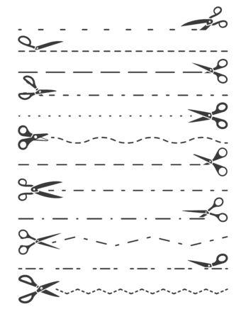 Scissors cut line set. Sharp silhouette stationery, surgical scissors with dotted. Ilustração