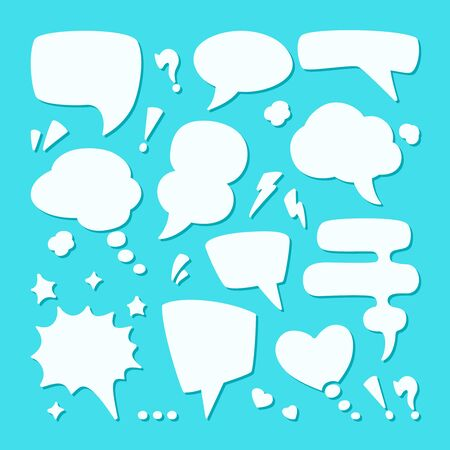 Dialogue speech bubble set. Symbol conversational drawn message thoughts in chat comics. Ilustracja