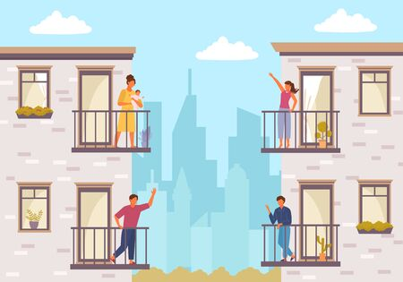 People on balcony stay home. Quarantined people communicate through balcony two guys greet each other young girl with child communicates her friend house plants balcony windows. Vector flat style.