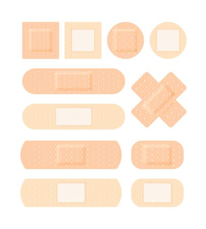 Adhesive plaster medical set. Antiseptic patch various forms direct square cruciform bactericidal corn medical healing first aid injuries cuts wounds. Vector realistic style.