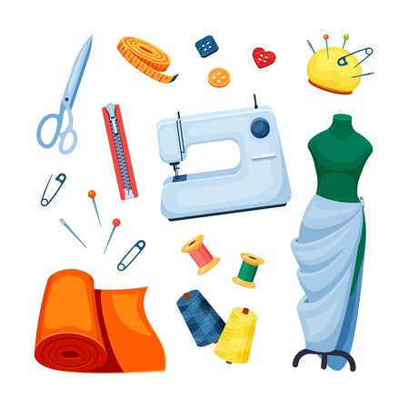 Sewing supplies set. Sewing machine white scissors mannequin fitting roll of fabric orange pin yellow bobbin thread green spool button needle zipper. Vector clipart.