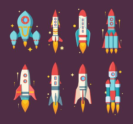 Space rockets set. Modern star ships various shapes heavy multistage cargo research stations passenger with three powerful engines stylish color computer game design. Cartoon space vector.