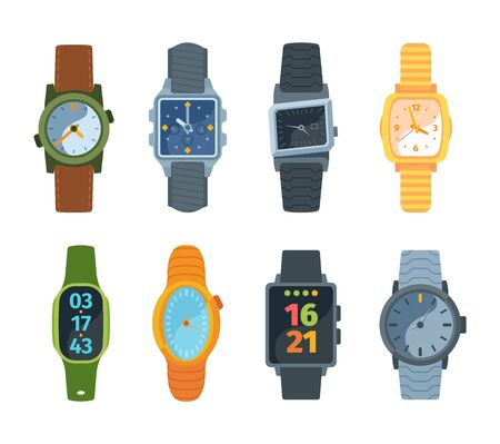 Wristwatch set. Classic and modern watches fashionable retro design mechanical proven over years electronic batteries new generation smart technologies with minicomputer. Digital vector style.