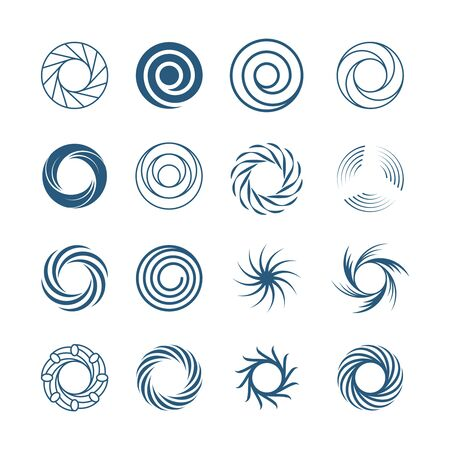 Abstract spiral circles set. Fashionable round swirls in form whirlpool lines effect rotational motion illustration subspace portals symbols ancient runic solstice. Vector abstract symbolism.