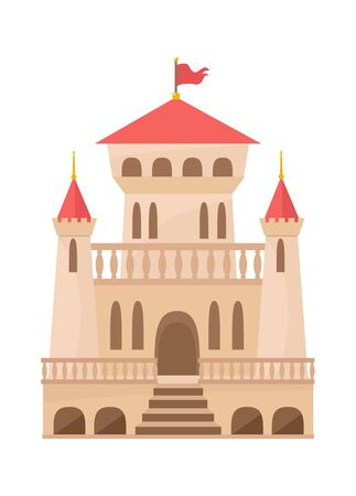 Medieval castle renaissance. Palace beige color with three towers openwork balconies red roof flag elongated rounded windows large central entrance staircase. Cartoon vector.