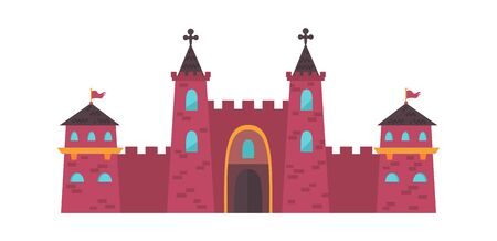Gothic medieval castle. Two powerful red brick towers crosses on roof central massive door watchtowers with flag balconies on sides defensive stronghold. Majestic cartoon vector.