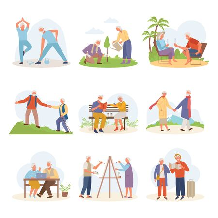 Life active old people. Elderly man woman draw travel relax at resort glasses, sit laptop, wait for plane with things, plant tree together, actively walk mountainous terrain. Vector cartoon style.