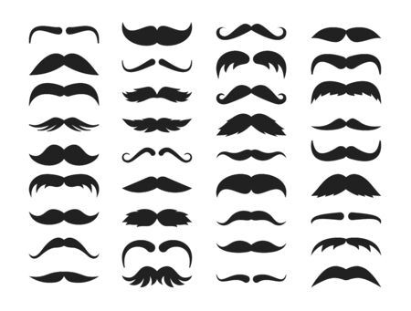 Mustache silhouette set. Stylish look black mustache curly horseshoe imperial pencil english pyramid italian narrow french, walrus brush, male hipster modern fashion. Silhouette vector clipart. Ilustracja