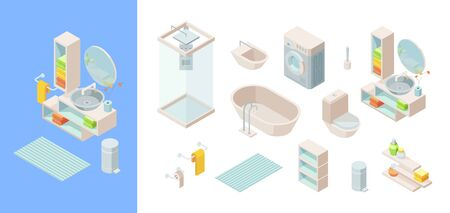 Isometric bathroom set. Controlled shower, washing machine rug wash basin mirror bathtub faucets toilet bowl with tank holders towels toilet paper shelves towels detergents brush. Vector isometric.