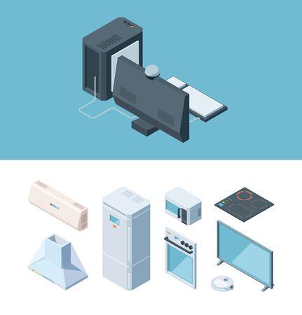 Kitchen furniture isometric set. Two chamber modern white refrigerator extractor hood desktop computer microwave plasma tv induction hob electric oven cleaner. Isometric vector cartoon style. Vektoros illusztráció
