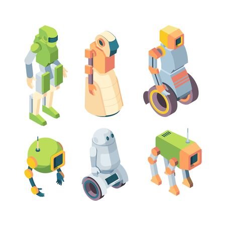 Technological robots helper future isometry set. Robotic humanoid green cyborg on wheels chassis robopes artificial intelligence guard of order help fantastic. Vector friendly communication.