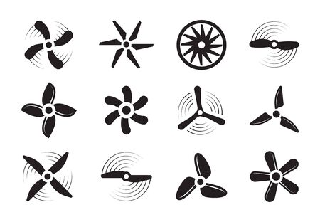 Propellers silhouette set. Modern retro coolers turbine rotary turbulence airplanes stylish ventilation cooling systems graphic power air flow ship rotation energy. Aerial vector silhouette. Stock Illustratie