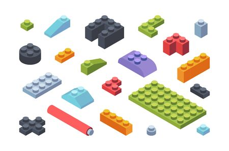 Kids constructor isometric blocks set. Multicolored tiles and parts assembly toy models geometric strips various shapes wide narrow childrens developmental constructor. Cognitive vector.