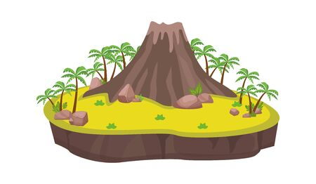 Volcanic island with palm trees. Ancient large volcano center platform stones scattered by eruption yellow sand dunes bushes small groves beach island around perimeter. Beach flat vector. 写真素材 - 150337785