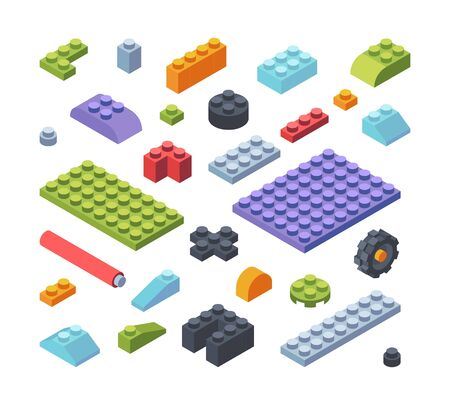 Constructor kids isometric parts large set. Tiles and blocks multicolored assembly toy models strips various shapes geometric wide narrow childrens developmental constructor. Developing vector.