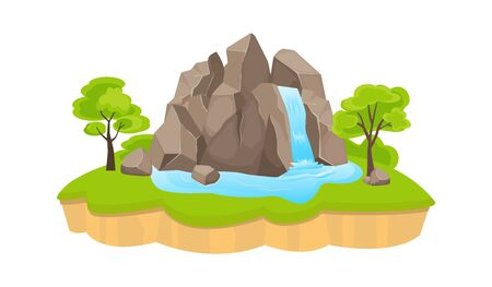 Green island with waterfall. Large rock blue waterfall striking down green lawn small grove tropical trees on platform fragments stones around spilling water. Scenic flat vector Illustration