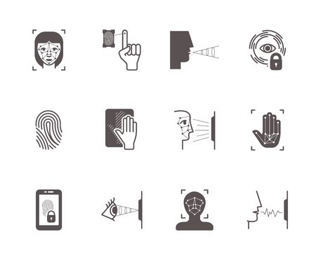 Biometric recognition system icons set. Face scanning, fingerprint palm identification opening lock by scanning retina voice vibration modern electronic protection systems. Vector detection icons