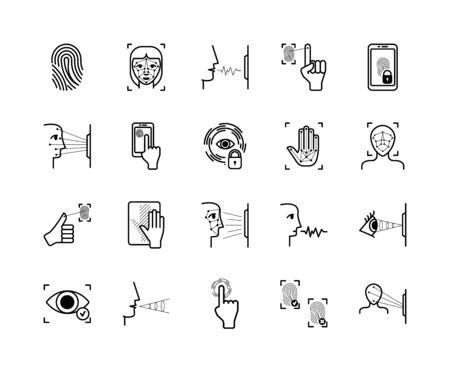 Recognition biometric icons system set. Fingerprint palm identification appearance biometry face scanning unlock smartphone scanning retina voice vibration modern protection. Security vector icons