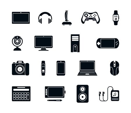 Electronic gadgets silhouette icons set. Stylish joystick modern laptop system unit gaming mouse gamepad mp3 player webcam smartphone stereo smart watches headphones speakers. Vector silhouette icon. Vecteurs