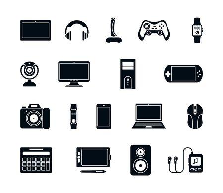 Electronic gadgets silhouette icons set. Stylish joystick modern laptop system unit gaming mouse gamepad mp3 player webcam smartphone stereo smart watches headphones speakers. Vector silhouette icon. Vektoros illusztráció