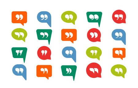 Colored quotation marks speech bubbles set. Miscellaneous speech forms blue green red quotation marks creative inverted geometric design comment dialogue discussion icon. Vector symbol style.