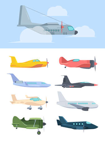 Airplanes stylish set. Big passenger liners cargo plane retro propeller corncob super powerful combat fighter small high speed private jet golfstream compact training aircraft. Color cartoon vector.