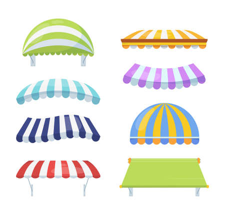 Canopy colour striped set. Stylish multicolored awnings shelter green from rain sun necessary blue accessory cafe retail element pink of architecture circus summer theater. cartoon vector.
