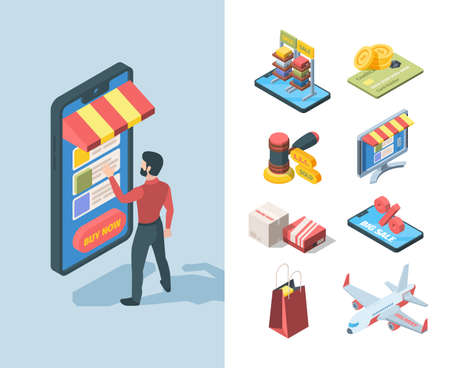 Goods sale store online isometric set. Character orders goods great discount smartphone big sale boxes online store quick delivery plane auction hammer last seconds sold. Vector isometry.