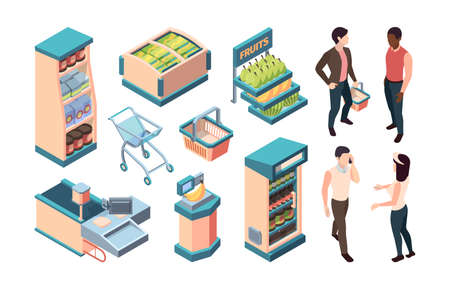 Supermarket isometric equipment set. coffee cans shopper with basket seller consultant cash desk computer conveyor belt self service point bananas on scales freezer food cabinet Vector isometric.