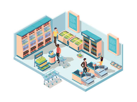 Supermarket interior isometric concept. Characters make purchases in store shelves groceries cold stores filled products fruit row polite cashier selfservice cash registers. Shopping cartoon vector.