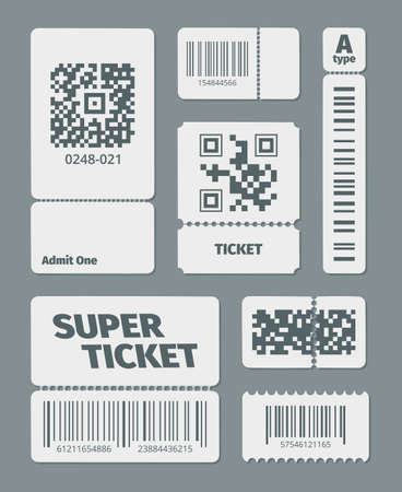 Tickets with barcode qr code set. Documents standard barcode and latest qr identification laser scanning symbol sticker for retail goods, modern data tracking. Technological vector style.