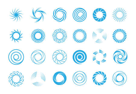 Spiral circles abstract set. Round blue swirls in form rotational whirlpool star burst lines effect motion subspace portals symbols illustration ancient runic solstice. Vector abstract symbolism.