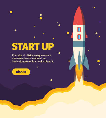 Rocket new start up illustration. Take off spaceship from launch pad star new business project successfully starting scientific journey planets completion new start up. Cartoon vector mission.