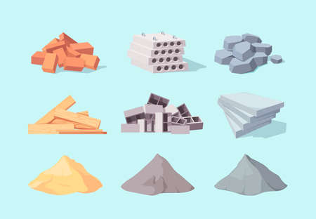 Material building set. Piles large gray cement facing stone drywall packaging yellow sand concrete blocks pile red brick curly cinder block processed wooden boards. Vector architectural cartoon.