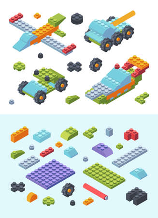 Kids constructor toys isometric set. Variety modern colored tiles details assembled toy models wheeled tank airplane speed boat geometric planks shapes wide narrow childrens designer. Vector style. Иллюстрация