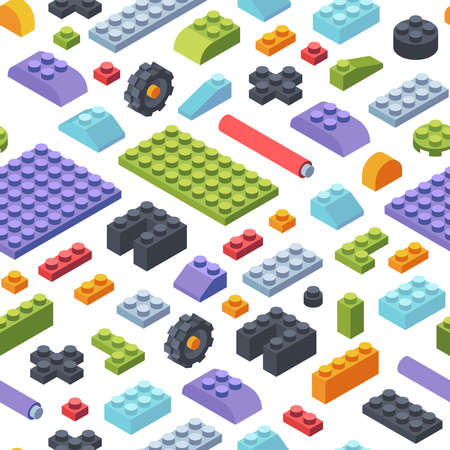 Constructor kids isometric seamless pattern. Creativity tiles and parts assembly geometric toy models colored strips various shapes childrens wide narrow constructor developmental. Seamless vector. 向量圖像