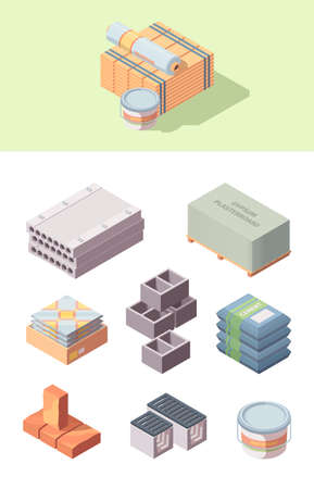 Building construction materials isometric set. Bobbin linoleum bucket glue box tiles concrete blocks gray cinder packaging cement bags wooden board red brick gypsum plasterboard. Vector cartoon style