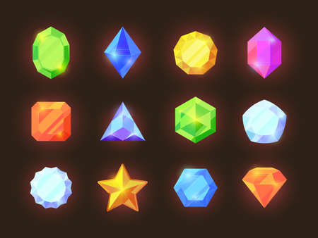 Game color crystals set. Shiny jewelry of various geometric shapes blue diamonds orange sapphires green emeralds.