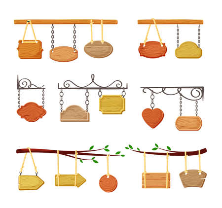 Hanging wooden signboards banners set. Empty color templates suspended openwork chains and ropes retro. Ilustração