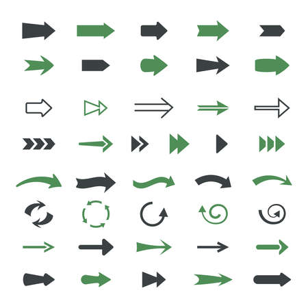 Varieties arrows set. Variety of black green symbols pointers straight curved and rounded.