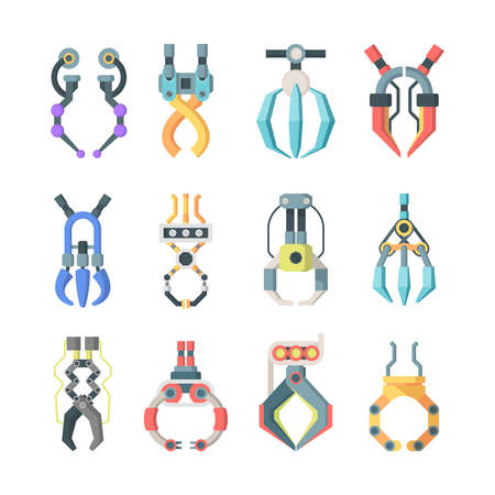 Robotic claws grips large set. Technological mechanisms for transfer goods industrial scale arcade game hooks for prizes element equipment for precise work fun gambling entertainment. Vector flat.