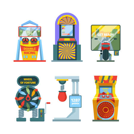 Arcade game machine set. Retro gaming machine with joysticks and screen colorful electronic entertainment consoles stationary devices for checking strength good luck. Gambling vector. Vecteurs