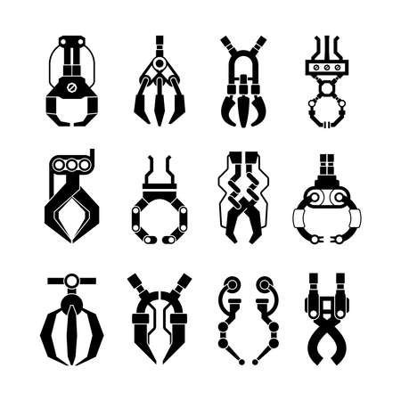 Robotic grips claws silhouette set. Arcade mechanical arm technological mechanisms transfer goods game hooks prizes industrial scale equipment precise work fun gambling entertainment. Vector flat.