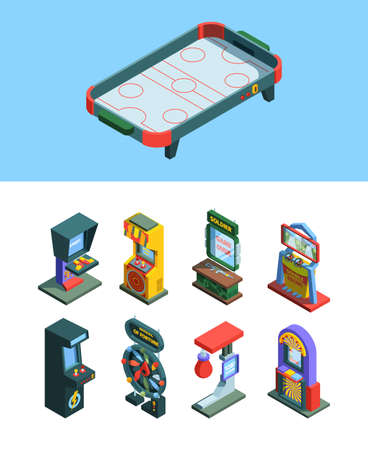 Arcade trainers game machine isometric set. Board game simulators gaming machine for checking strength good luck devices fixtures joysticks and screen colorful electronic consoles. Vector design.